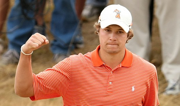 Peter Uihlein pumps his fist after chipping in for eagle on the 18th hole to take a 2-up lead at the U.S. Amateur.