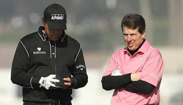 Phil Mickelson and Barclays president Bob Diamond during the AT&T Pebble Beach National Pro-Am on Feb. 13, 2010, in Pebble Beach, California.