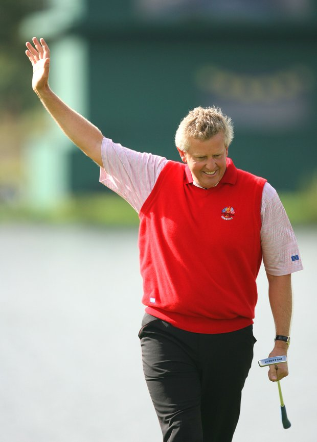 Colin Montgomerie won his singles match against David Toms at the 2006 Ryder Cup.