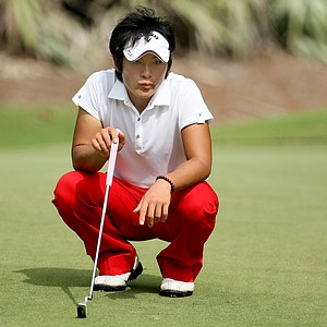 Daichi Morisugi of Japan lines up his putt at No. 10. Morisugi tied for 39th.