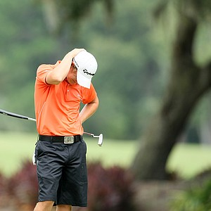 Emiliano Grillo reacts to missing his birdie putt at No. 14 during the final round of the Junior Players.