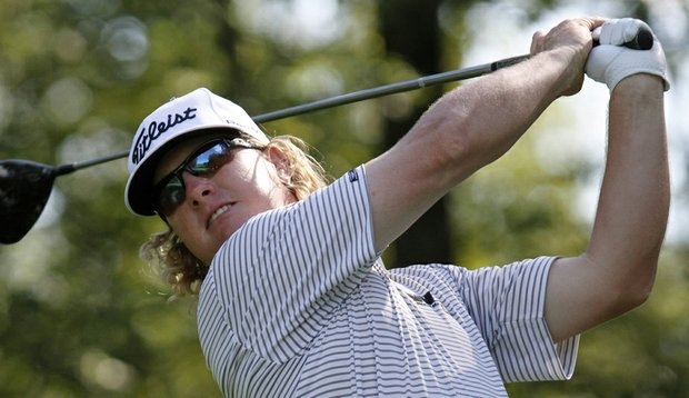 Charley Hoffman hits a shot during the Deutsche Bank Championship.
