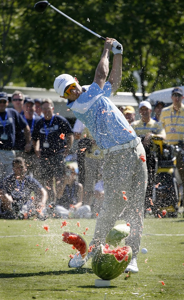 Jamie Sadlowski hits a golf ball through a watermelon at the 2008 Deutsche Bank Championship.