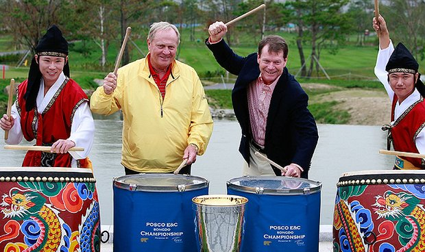 Jack Nicklaus and Tom Watson beating drums at the opening ceremony ahead of the Champions Tour's first foray into Asia.