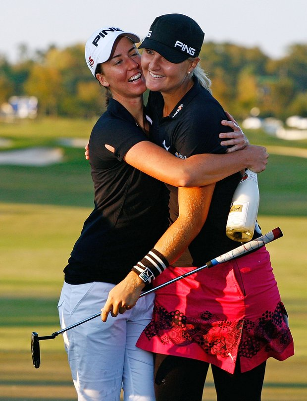 Anna Nordqvist (right) celebrates with Louise Stahle after her Nordqvist's victory at the 2009 LPGA Tour Championship.