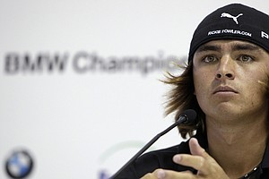 Rickie Fowler answers questions during a press conference at the BMW Championship. Fowler will look to add a win to his collection of accomplishments in 2011.