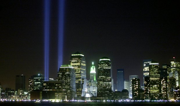 Twin beams of light mark the site of New York's World Trade Center towers, toppled on Sept. 11, 2001.