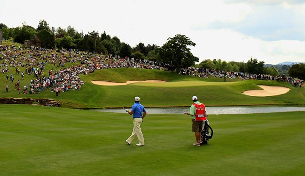 Graeme McDowell on the 18th hole at the Twenty Ten Course during the 2010 Celtic Manor Wales Open.