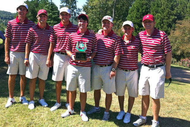 Alabama celebrates after winning the Carpet Capital Classic.