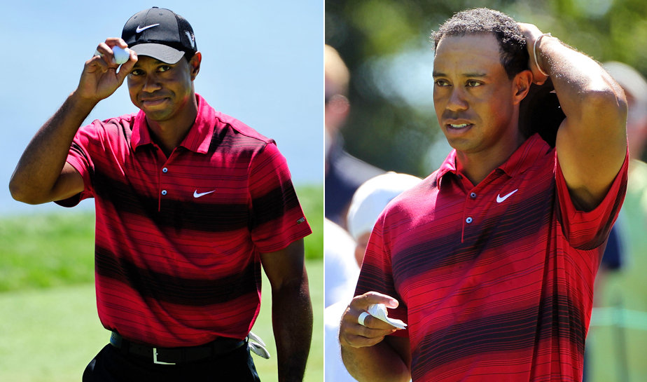 Tiger Woods during the final round of the PGA Championship (left) and BMW Championship (right).