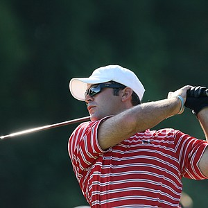 Chase Blaich of Huntingdon College tees off during the final round.