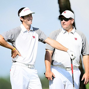 Coach Jeff Roope, right, of Wittenberg University with his player Jordan Millice.