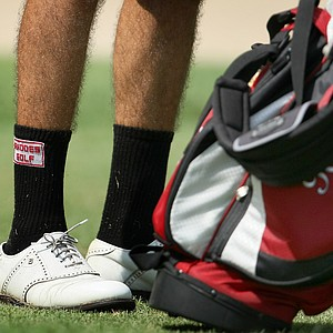 Bill Bazzel with his Rhodes College socks during the final round.