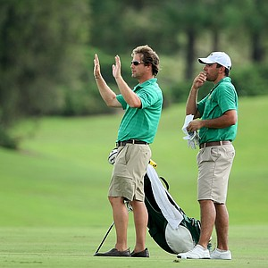 Skidmore College head coach David Bakyta with John McCarthy during the final round in Haines City.