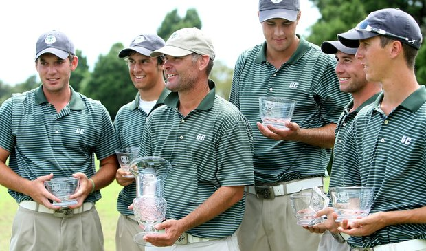Greensboro College celebrates after winning Golfweek's Division III Fall Invitational.
