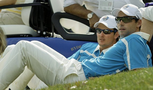 Europe's Oliver Wilson (right) and Justin Rose watch their teammates during the 2008 Ryder Cup.