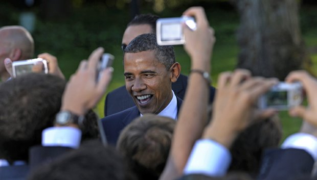 President Barack Obama meets with NCAA champion student athletes on the South Lawn of the White House.