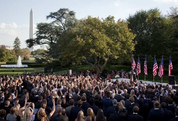 President Barack Obama speaks to NCAA championship student athletes on the South Lawn of the White House on Sept. 13.
