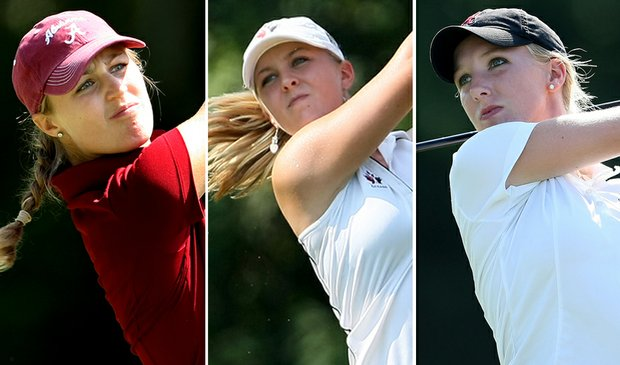 (left to right) Camilla Lennarth, Jennifer Kirby and Brooke Pancake led Alabama to victory Sept. 15 at the NCAA Fall Preview.