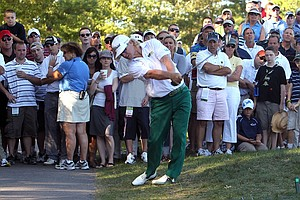 Charley Hoffman hits off a cart path during the final round of the Deutsche Bank Championship.