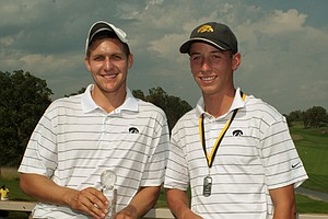 Iowa's Chris Brant and Vince India share medalist honors at the Golfweek Conference Challenge.