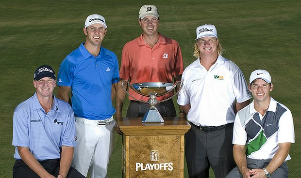Should any of these players win The Tour Championship, he will be crowned the 2010 FedEx Cup champion. From left to right: Steve Stricker, Dustin Johnson, Matt Kuchar, Charley Hoffman and Paul Casey.
