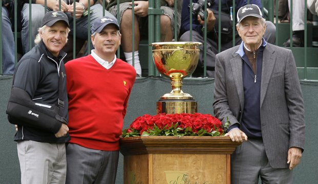 From left, Greg Norman, Fred Couples and former President George H.W. Bush during the 2009 Presidents Cup.