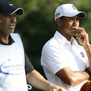Caddie Steve Williams (left) and Tiger Woods at the Deutsche Bank Championship.