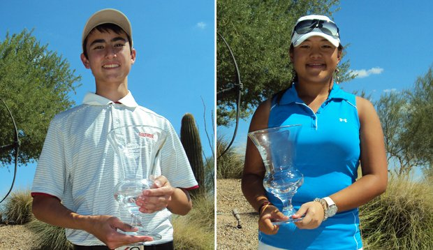 Christopher Petefish and Kimmy Hill after winning the Golfweek Junior Series at Longbow.