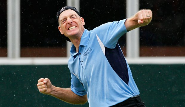 Jim Furyk celebrates his win at the 2010 Tour Championship, which also gave him the $10 million FedEx Cup prize.