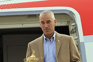 Corey Pavin with the Ryder Cup in Wales.