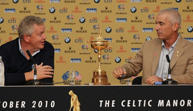 Colin Montgomerie and Corey Pavin at a Ryder Cup press conference Monday.