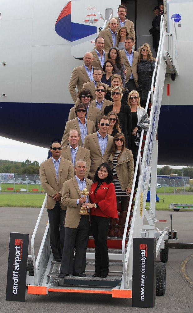 The U.S. Ryder Cup team upon arrival in Wales.