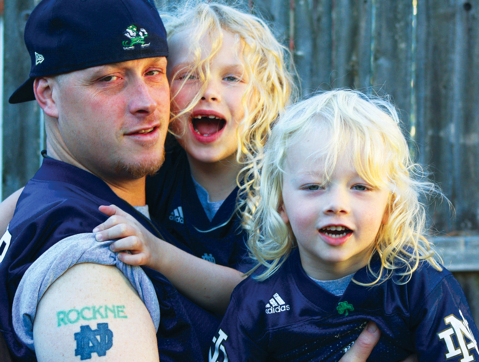Fighting Irish superfan Billy DePuy and his children, Felicia Montana (as in Joe) and Lukas Rockne (as in Knute).