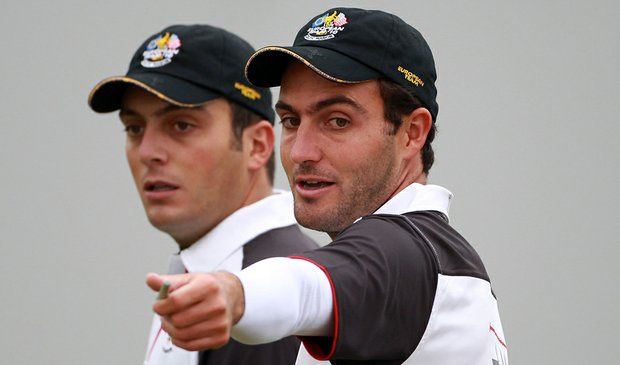 Edoardo Molinari (right) and Francesco Molinari during a practice round prior to the 2010 Ryder Cup.