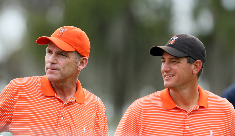 Oklahoma State coach Mike McGraw and assistant Alan Bratton during the 2009 Isleworth Collegiate Invitational.