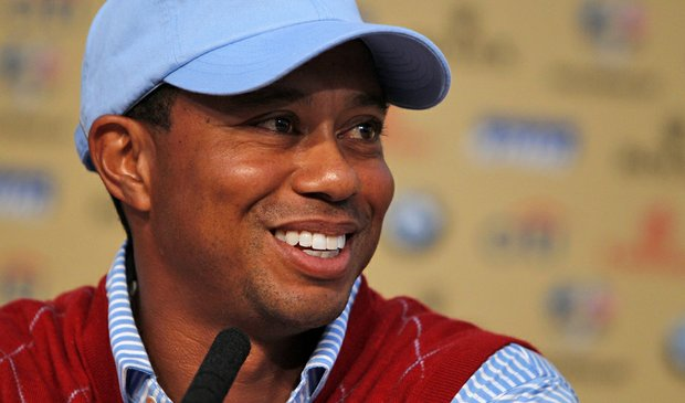 Tiger Woods speaks to reporters Sept. 28 at the Ryder Cup.