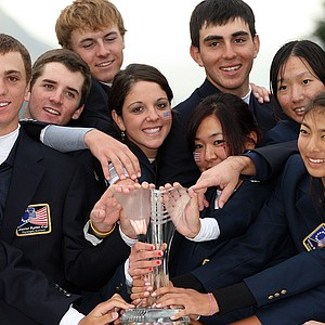 The U.S. team celebrates after winning the 2010 Junior Ryder Cup at Gleneagles Resort in Scotland, the Americans' first win on foreign soil.