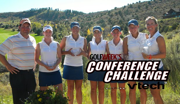 Virginia won the Golfweek Women's Conference Challenge on Sept. 28. From left, assistant coach Brian Bailie, Brittany Altomare, Lauren Greenlief, Eleana Collins, Nicole Agnello, Calle Nielson and head coach Kim Lewellen.