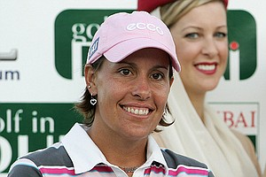 Iben Tinning of Denmark smiles after finishing second in the 2007 Dubai Ladies Masters.