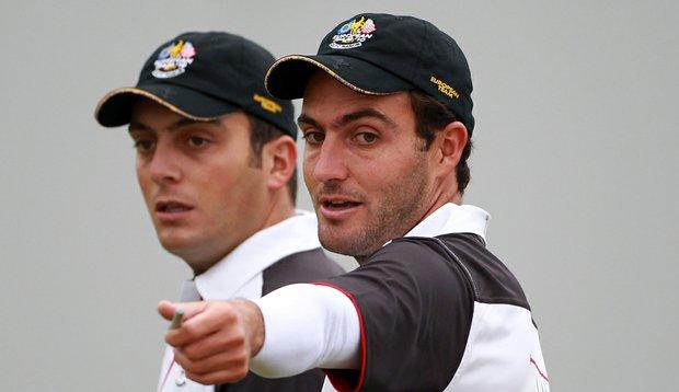 Francesco and Edoardo Molinari during a Ryder Cup practice round.