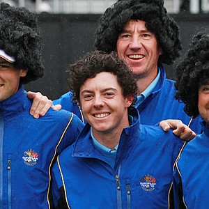 From left: Martin Kaymer, Rory McIlroy, caddie John McLaren and Graeme McDowell fool around at the Ryder Cup.