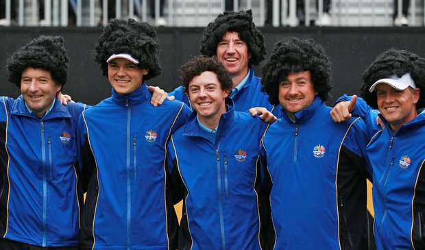 (left to right) Caddie John-Paul Fitzgerald, Martin Kaymer, Rory McIlroy, caddie John McLaren, Graeme McDowell and Luke Donald pose with wigs during a practice round prior to the 2010 Ryder Cup.