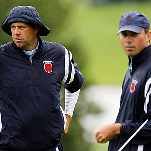Stewart Cink and Matt Kuchar during a Ryder Cup practice round.