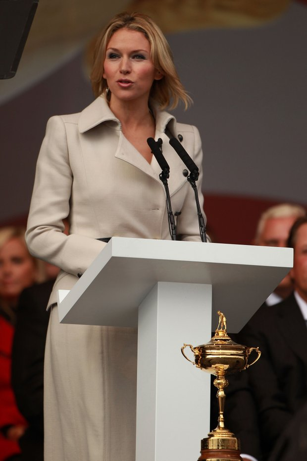 Master of Ceremonies Di Stewart speaks during the Opening Ceremony prior to the 2010 Ryder Cup.