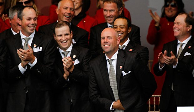 Stewart Cink reacts after Team Captain Corey Pavin forgets to announce him during the Opening Ceremony prior to the 2010 Ryder Cup.