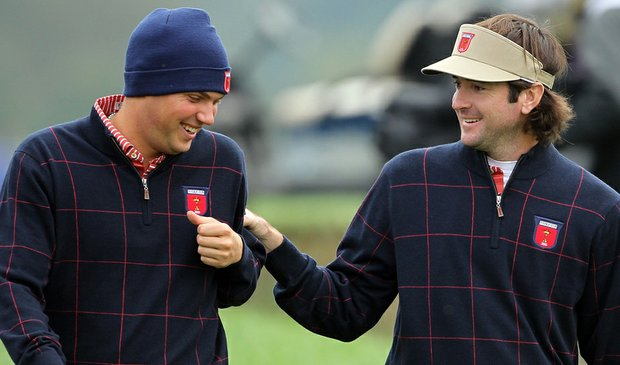 Jeff Overton (left) and Bubba Watson during a practice round prior to the 2010 Ryder Cup.