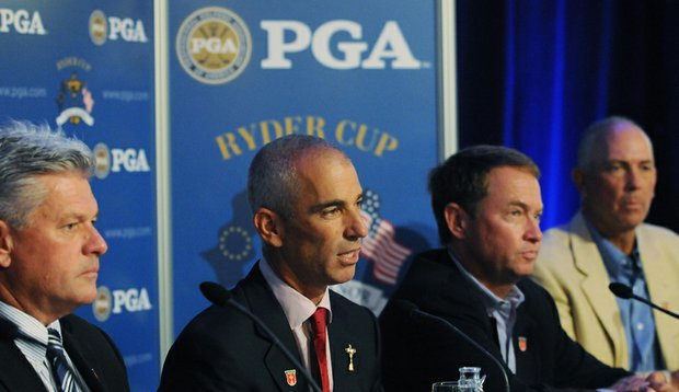 PGA President Jim Remy (from left), U.S. captain Corey Pavin and assistants Davis Love III and Tom Lehman