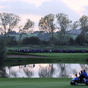 General view as European captain Colin Montgomerie rides in a cart during the morning four-ball matches.