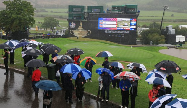 General view of the 18th green as rain falls and play is suspended during the morning four-ball matches during the 2010 Ryder Cup.